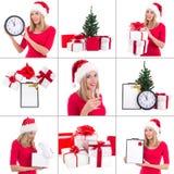 Bożenarodzeniowy kolaż. piękna kobieta z prezentów pudełkami, zegarem i ch, Zdjęcia Royalty Free