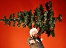 Bożenarodzeniowy korporacyjny partyjny pojęcie Mężczyzna w kostiumu i Santa kapeluszu zdjęcie royalty free