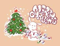 Bożenarodzeniowy królik dekoracji świateł karty doodle styl royalty ilustracja