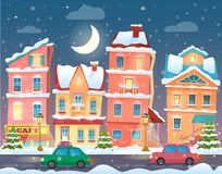 Bożenarodzeniowy kreskówki zimy miasteczko w nocy tła kreskówka odizolowywający llustration drzewa wektoru biel ilustracja wektor