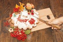 Bożenarodzeniowy kulebiak dla semeyniy gościa restauracji Fotografia Royalty Free