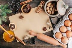 Bożenarodzeniowy Kulinarny tło Zdjęcie Stock