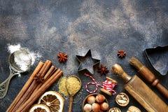 Bożenarodzeniowy Kulinarny tło Odgórny widok z kopii przestrzenią zdjęcie stock
