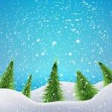Bożenarodzeniowy las z opadem śniegu i dryfami wektor Obrazy Royalty Free
