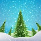 Bożenarodzeniowy las z opadem śniegu i dryfami wektor Obraz Royalty Free
