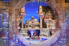 Bożenarodzeniowy magiczny atmosfery tło Nowożytny gablota wystawowa projekt dla zima wakacji Zdjęcia Stock