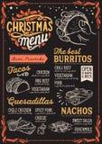 Bożenarodzeniowy menu szablon dla meksykańskiej restauraci ilustracja wektor