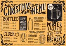 Bożenarodzeniowy menu szablon dla piwnej restauraci royalty ilustracja