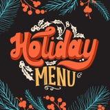 Bożenarodzeniowy menu szablon dla restauraci i kawiarnia na blackboard ilustracja wektor