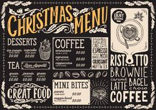 Bożenarodzeniowy menu szablon dla sklepu z kawą na blackboard wektorowej ilustracyjnej broszurce dla xmas dnia świętowania Projek ilustracji