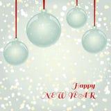 Bożenarodzeniowy NewYear kartka z pozdrowieniami z piłkami na płatka śniegu backgro Zdjęcie Royalty Free
