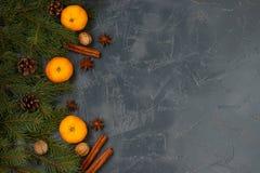 Bożenarodzeniowy nowego roku skład z tangerines, anyżem, dokrętkami, cynamonowymi kijami i zielonymi jedlinowymi gałąź na ciemnym obrazy stock