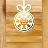 Bożenarodzeniowy płatek śniegu na drewnianym pudełku. + EPS8 Zdjęcie Royalty Free