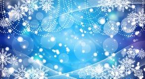 Bożenarodzeniowy płatków śniegów błękit tło ilustracji