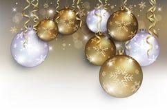 Bożenarodzeniowy piłki złota srebra tła śniegu płatek ilustracji