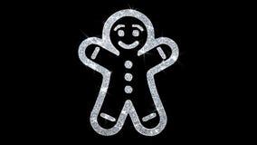 Bożenarodzeniowy Piernikowy ornamentu mężczyzny elementu mrugania ikony cząsteczek tło ilustracji