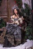 Bożenarodzeniowy pojęcie Ładna kobieta w karnawał sukni zdjęcie royalty free
