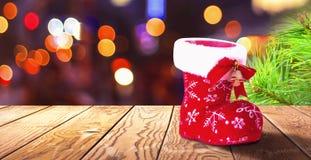 Bożenarodzeniowy pojęcie: bożenarodzeniowy but znaczy Wesoło boże narodzenia zdjęcie stock