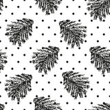 Bożenarodzeniowy polki kropki bezszwowy wzór z świerkowymi gałąź Zdjęcie Royalty Free