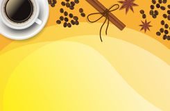 Bożenarodzeniowy pomarańczowy pozytywny tło z Xmas dekoracją - cynamon, kawa Fotografia Royalty Free