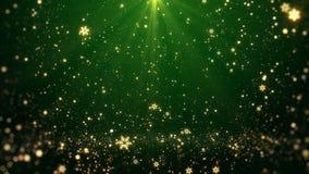 Bożenarodzeniowy powitania tła zieleni temat z płatków śniegu, połysk świateł i cząsteczek bokeh w temacie, Zdjęcia Stock