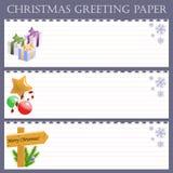 Bożenarodzeniowy powitanie papier z płatkami śniegu Obrazy Royalty Free