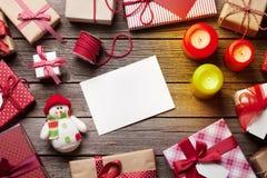 Bożenarodzeniowy prezentów pudełek zawijać Fotografia Royalty Free