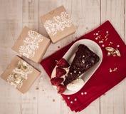Bożenarodzeniowy prezenta i jedzenia świętowanie Fotografia Stock