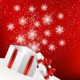 Bożenarodzeniowy prezenta pudełko z błyszczącymi płatkami śniegu ilustracja wektor