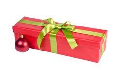 Bożenarodzeniowy prezenta pudełko z ornamentem Zdjęcia Royalty Free
