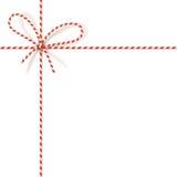 Bożenarodzeniowy prezenta wiązać: kępka czerwony i biały kręcony sznur Wektorowa ilustracja, EPS10 ilustracji