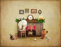 Bożenarodzeniowy przygoda królik, niedźwiedź i Obrazy Royalty Free