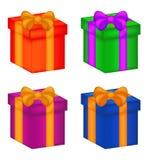 Bożenarodzeniowy pudełko, prezent ikony set, symbol, projekt Wektorowa ilustracja odizolowywająca na biały tle Obrazy Royalty Free