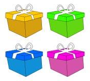 Bożenarodzeniowy pudełko, prezent ikony set, symbol, projekt Wektorowa ilustracja odizolowywająca na biały tle Zdjęcia Stock