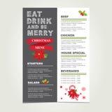 Bożenarodzeniowy restauraci i przyjęcia menu, zaproszenie ilustracja wektor