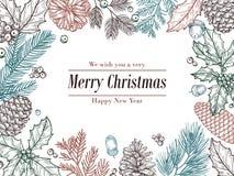 Bożenarodzeniowy rocznika zaproszenie Zimy jedlinowa sosna rozgałęzia się, pinecones kwiecista granica Boże Narodzenia, xmas nakr ilustracji