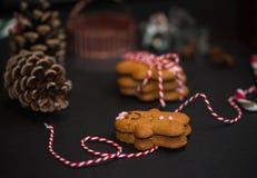 Bożenarodzeniowy słodki prezenta pojęcie: gingerman ciastka, pinecones, cand obraz stock