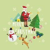 Bożenarodzeniowy Santa Claus i bałwanu wektor Zdjęcia Royalty Free