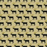 Bożenarodzeniowy seasmless wzór z czarnymi i złotymi deers na lekkim tle tekstura dla prezenta pakuje, opakunkowy papier, ilustracja wektor