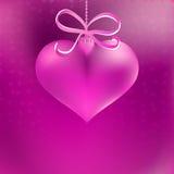 Bożenarodzeniowy serce kształtujący różowy bauble. + EPS8 Obrazy Stock