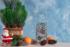 Bożenarodzeniowy skład boże narodzenia protestuje z choinką i bałwanem Nowego Roku ` s dekoracja Tangerines z persimmon zdjęcie royalty free