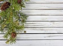 Bożenarodzeniowy sosnowy konar na drewnie zdjęcie stock