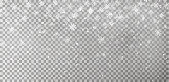 Bożenarodzeniowy spada śnieżny wektor odizolowywający na ciemnym tle Płatek śniegu dekoraci przejrzysty skutek royalty ilustracja