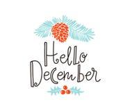 Bożenarodzeniowy sprig sosna z wakacyjnym literowaniem - Cześć decemder Wektorowa ilustracja dla kartka z pozdrowieniami, zaprosz ilustracja wektor