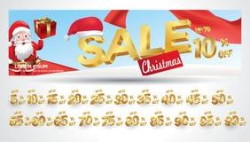 Bożenarodzeniowy sprzedaż sztandar z dyskontowym etykietka procentem z Santa Claus, 3d teksta luksusem i czerwonym kolorem r ilustracja wektor