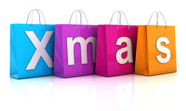 Bożenarodzeniowy sprzedaży pojęcie z torba na zakupy, 3d Obraz Royalty Free