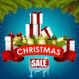 Bożenarodzeniowy sprzedaży tło z prezentów pudełkami, złotymi piłkami, sosną i realistycznym faborkiem, royalty ilustracja