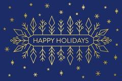 Bożenarodzeniowy sztandar, złociści geometryczni płatek śniegu i kształty na zmroku, - błękitny tło z tekstów Szczęśliwymi wakacj royalty ilustracja