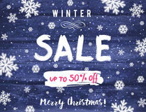 Bożenarodzeniowy sztandar z płatkami śniegu i sprzedaż oferujemy, wektor Fotografia Royalty Free