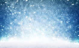 Bożenarodzeniowy tło, śnieg i niebo, obrazy royalty free